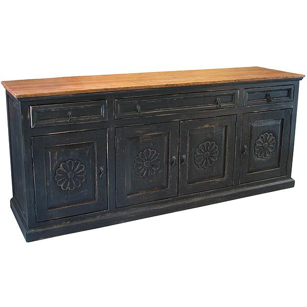 Southwestern Rustic Carved Flower Sideboard with Red/Black Under Finish