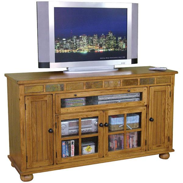 Rustic Oak & Slate Counter Height TV Console