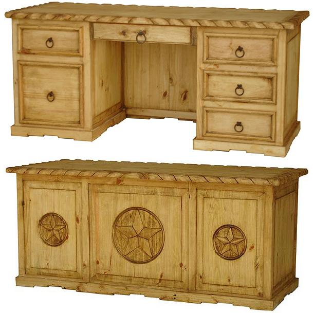 Mexican Rustic Pine Three Star Texas Executive Desk with Rope Top & Drawer