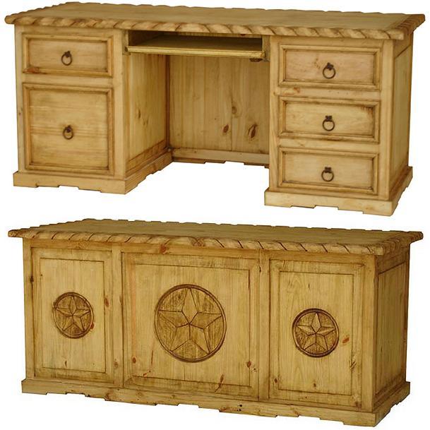 Rustic Americana Hardwood Executive Desk Home Office: Texana Executive Deskw/ Keyboard