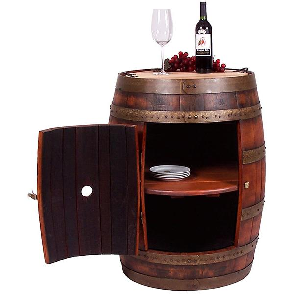 Barrel Bistro Table Cabinet Casters Weathered Product Photo