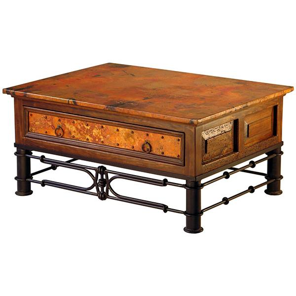 Drawer Copper Coffee Table Antique Dark Red Product Photo