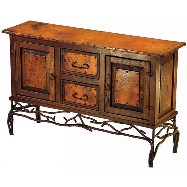 2-Door/2-Drawer Twig Copper Console Table with Antique Dark Red Finish