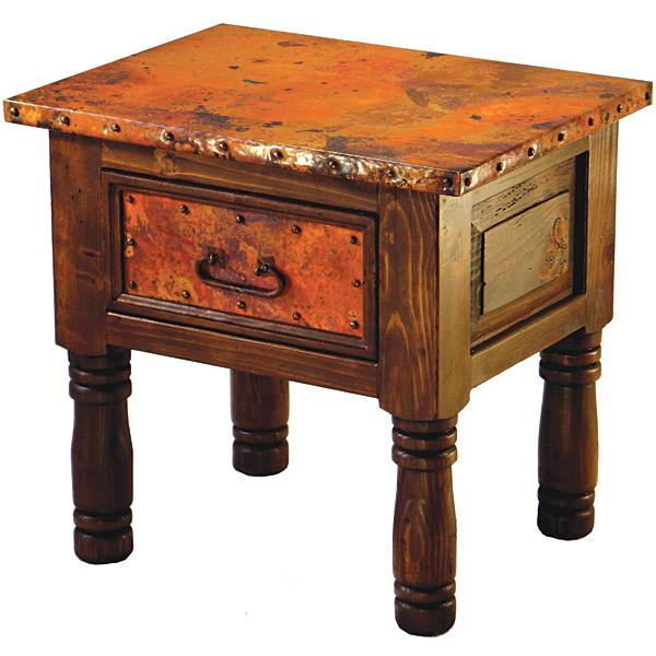French Copper End Table with Antique Red/Turquoise Under Finish