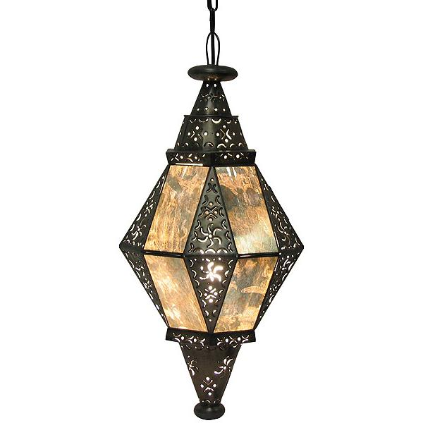 Mexican Tin Diamante Lantern with Antiqued Glass