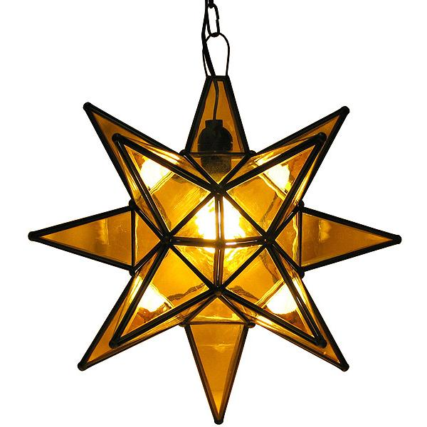 Large Mexican Tin Amber Glass Star