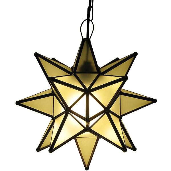 Small Mexican Tin Frosted Glass Star