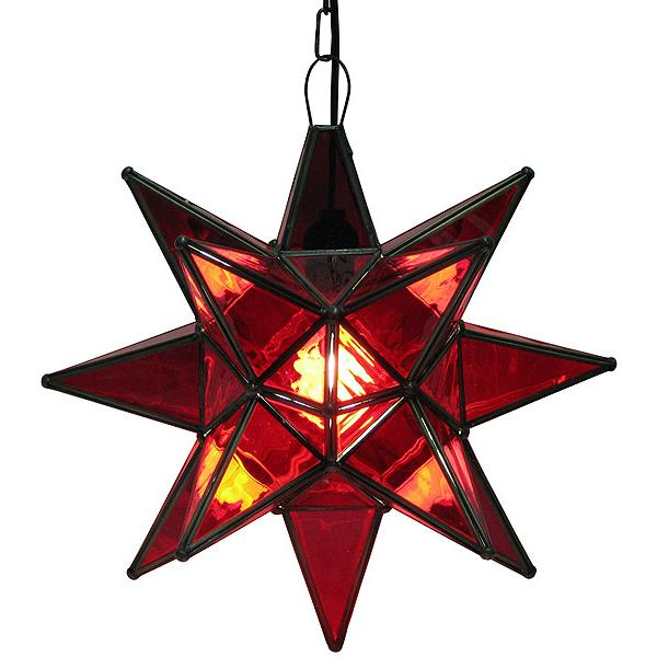 Large Mexican Tin Red Glass Star