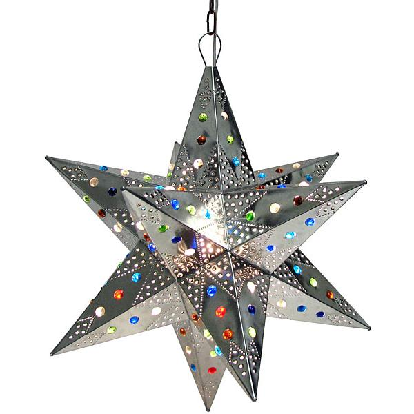 Large Mexican Tin Acapulco Star with Marbles: with Natural Finish
