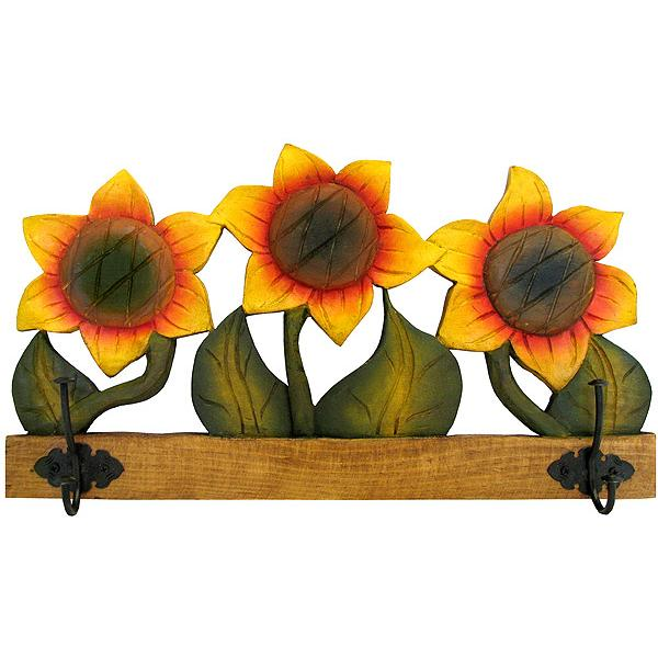 Mexican Rustic Sunflower Carved Coat Rack