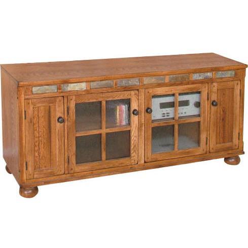 Rustic Oak & Slate 62 TV Console
