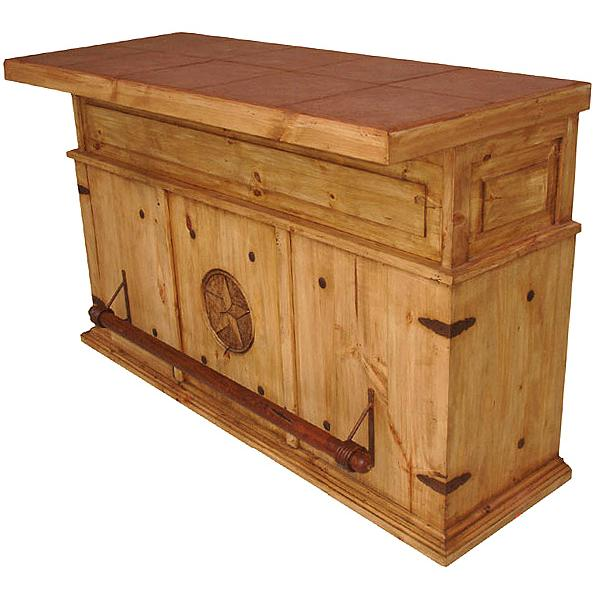 Mexican Rustic Pine Cantina Star Bar with Tile Top
