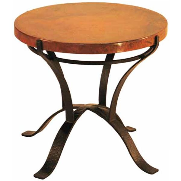 Round Copper End Table Product Photo