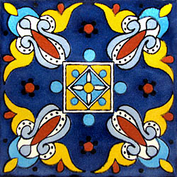La Fuente Imports Fiesta Azul Hand Painted Talavera Tile 6