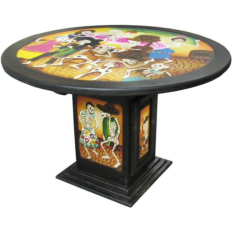 Round Carved Dining Table Product Photo