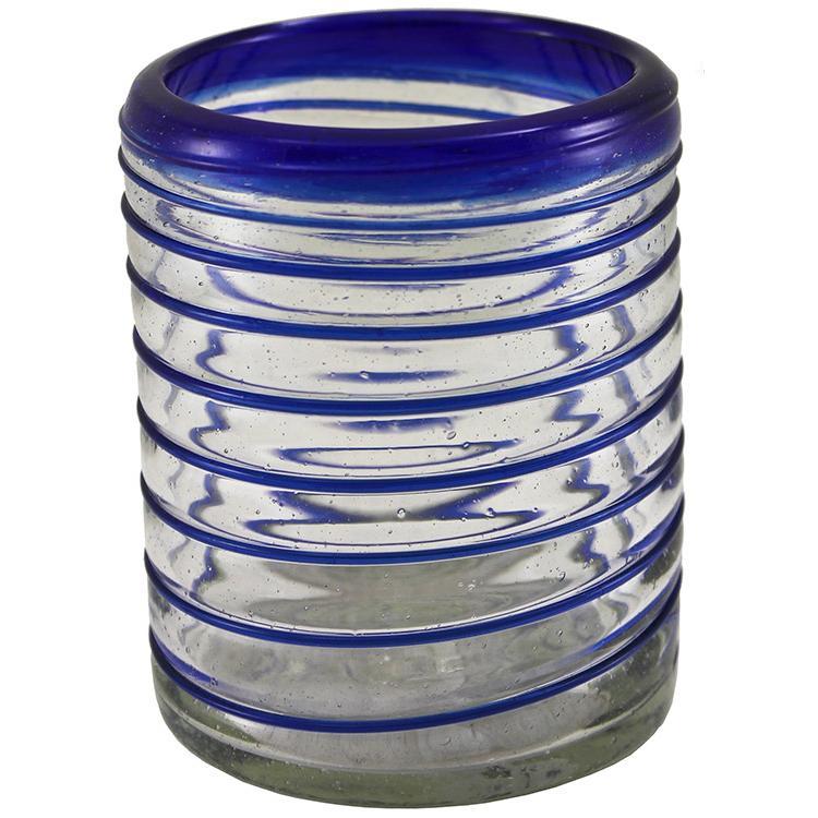 Rocks Glass - Cobalt Spiral