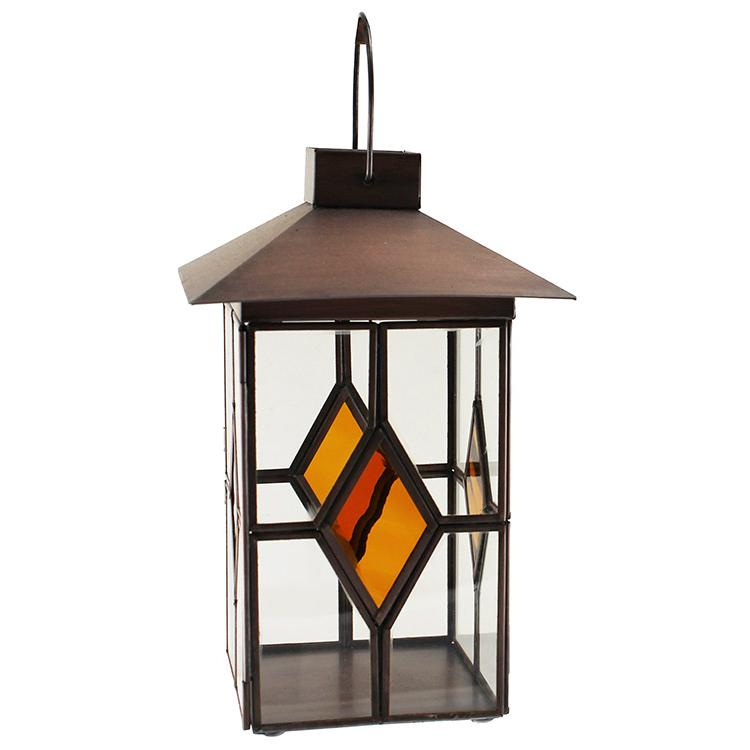 Mexican Tin Amber Diamond Tea Light Lantern
