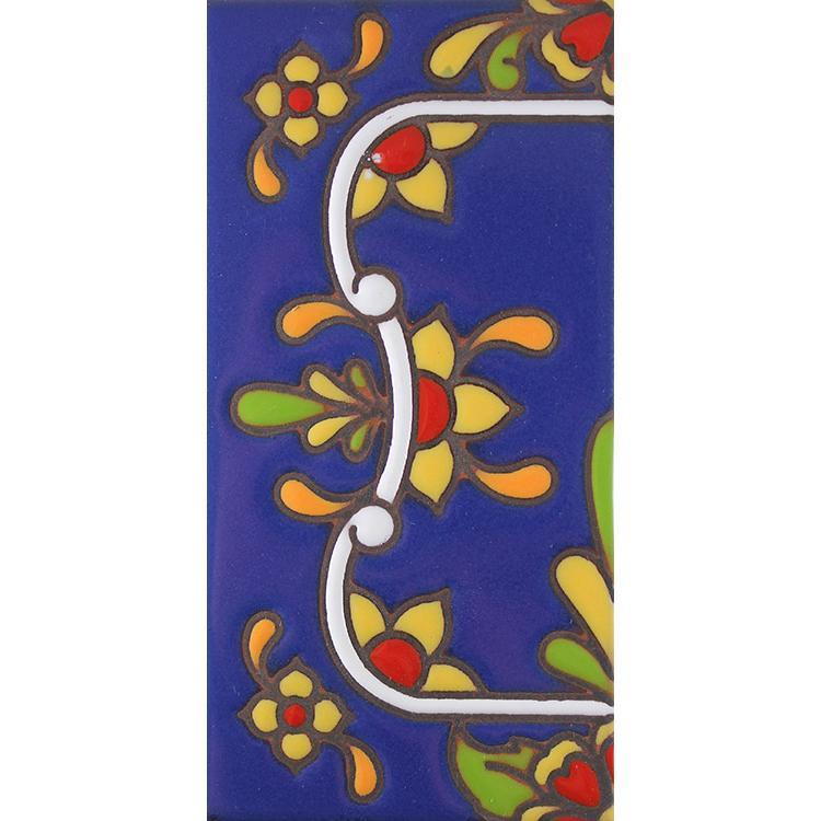 Left Side Border Tile:Blue w/ Red Flowers
