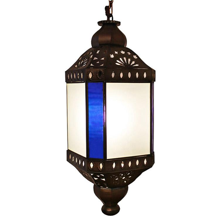 Tin Octagonal Lantern Blue Frosted Glass Product Photo