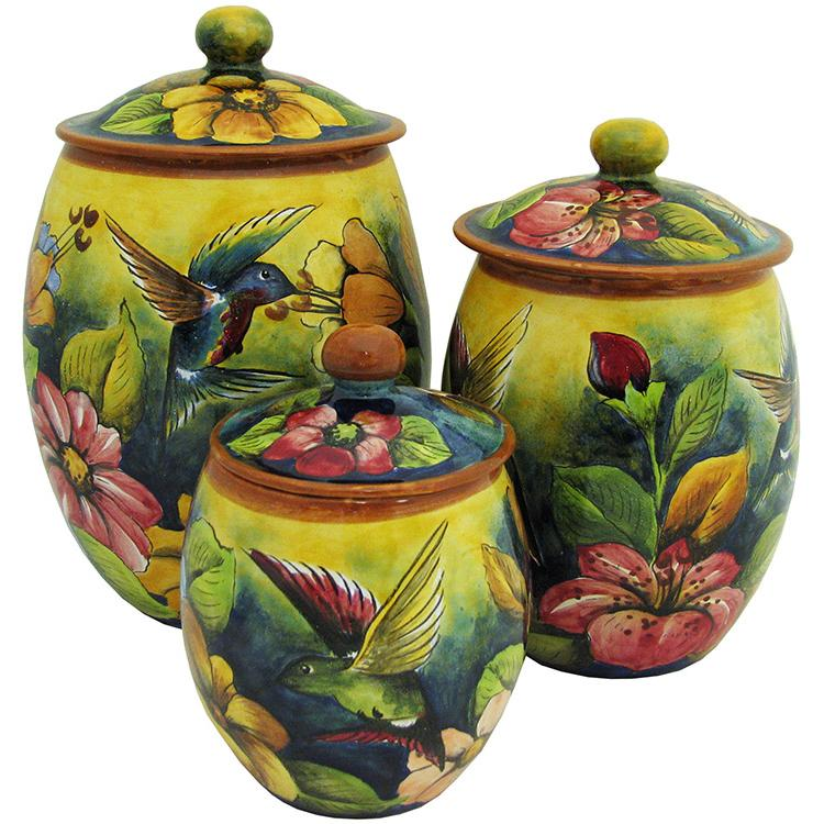 Oval Hummingbird Kitchen Canister Set of Three
