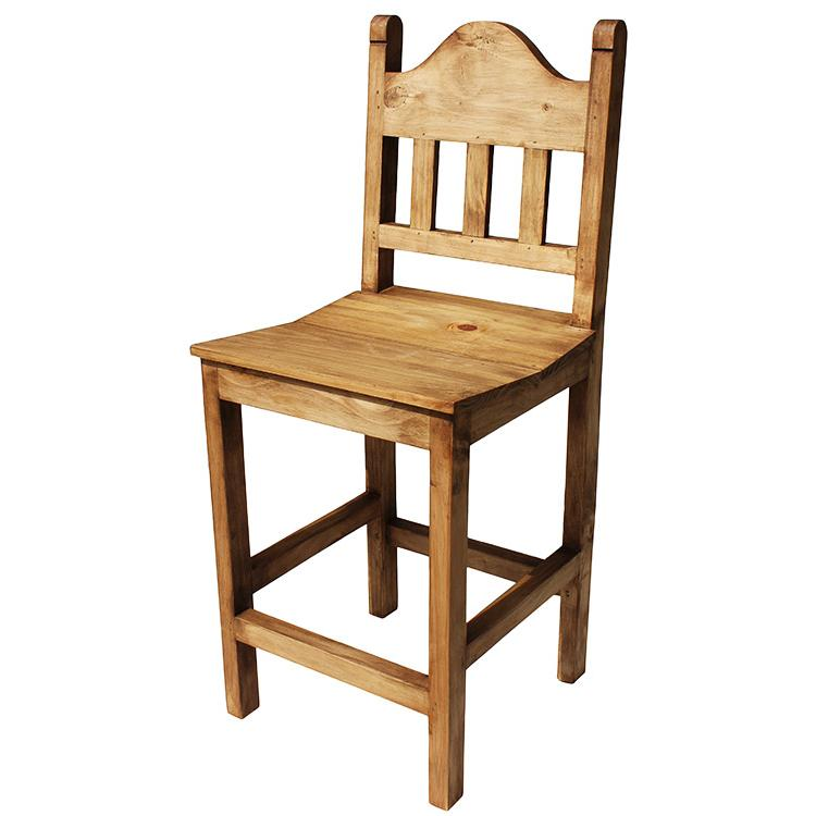Mexican Rustic Pine Short Santana Bar Stool