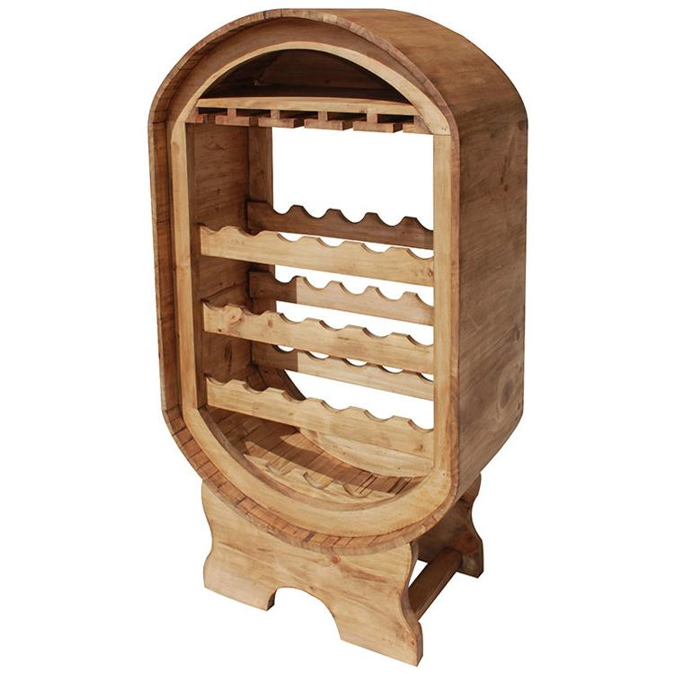 Mexican Rustic Pine Oval Wine Rack
