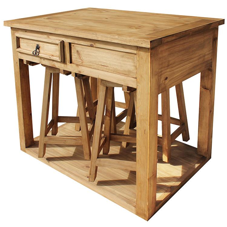 pine kitchen island rustic pine collection mezcal kitchen islandw four bar stools mes90 1743