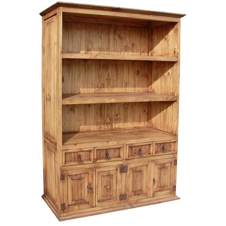 La Fuente Door Mexican Rustic Pine Bookcase
