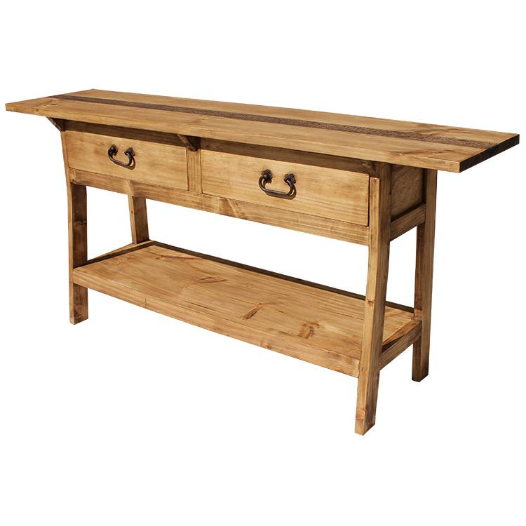 Rustic pine collection two drawer console table con