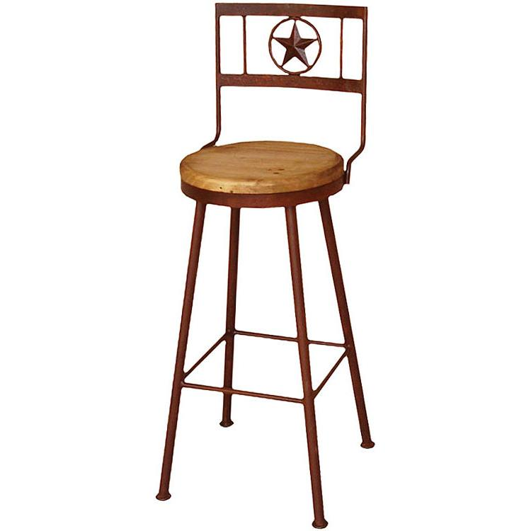 Mexican Rustic Pine Tall Iron Star Bar Stool with Swivel Seat