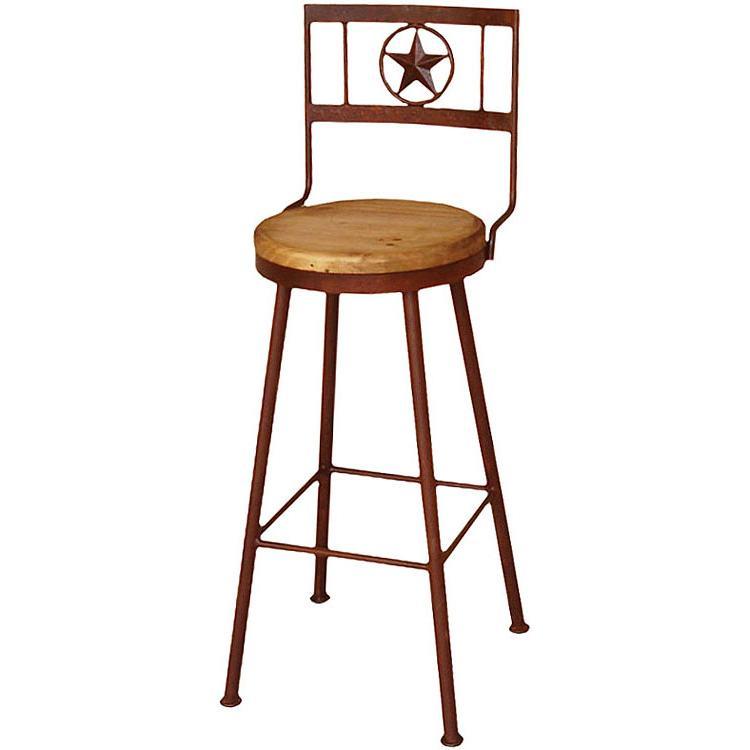 Rustic Pine Tall Iron Bar Stool Swivel Seat Product Photo
