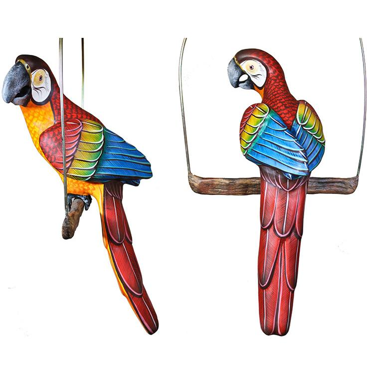 Paper Mache Fino Quality Small Red Macaw on Perch