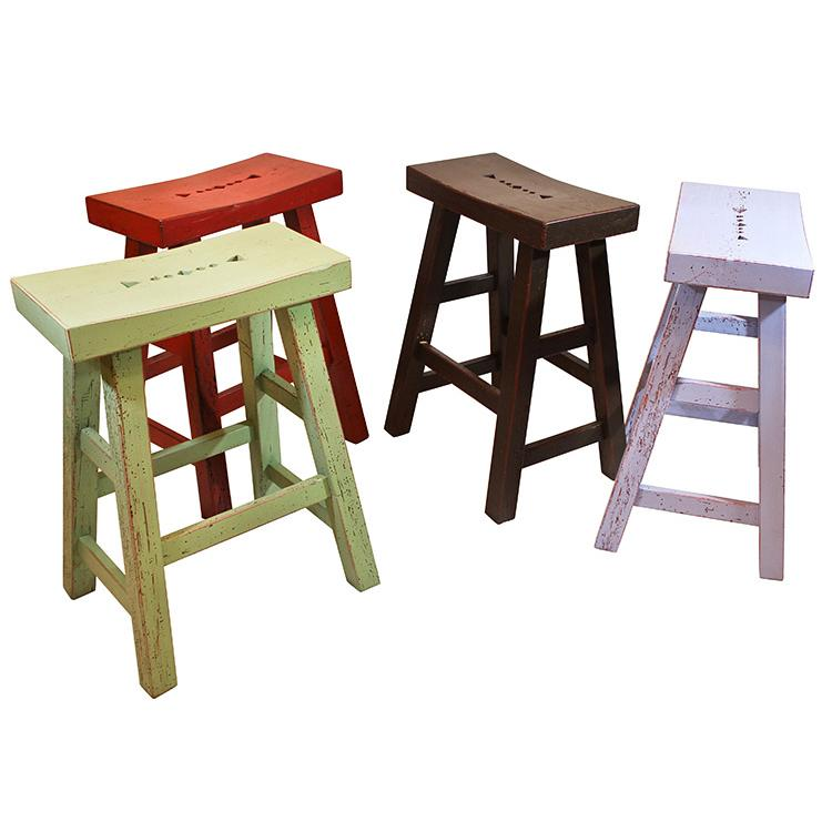 Southwestern Rustic Tall Taos Saddle Stool with Pastel Green/Red Under Finish