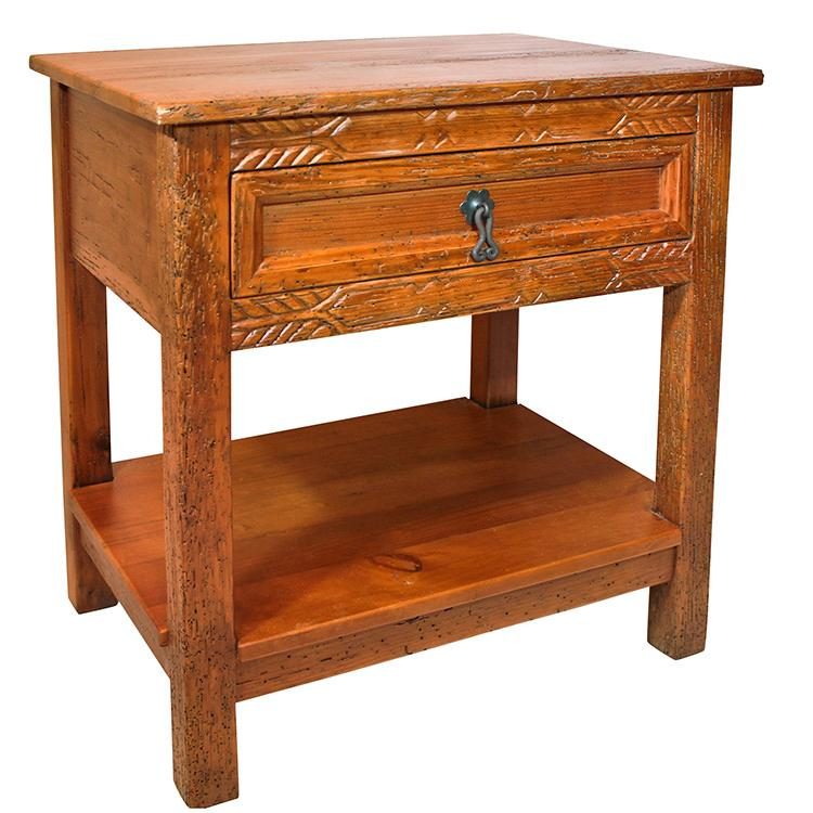 Rustic Nightstand Red Black Under Product Photo