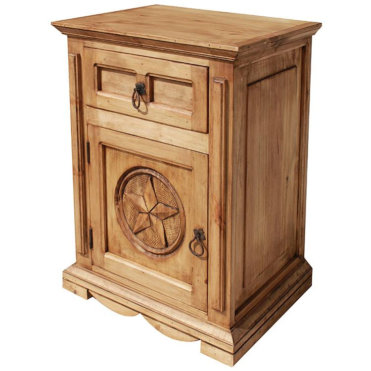 Mexican Rustic Pine Mansion Star Nightstand (Door opens Left)