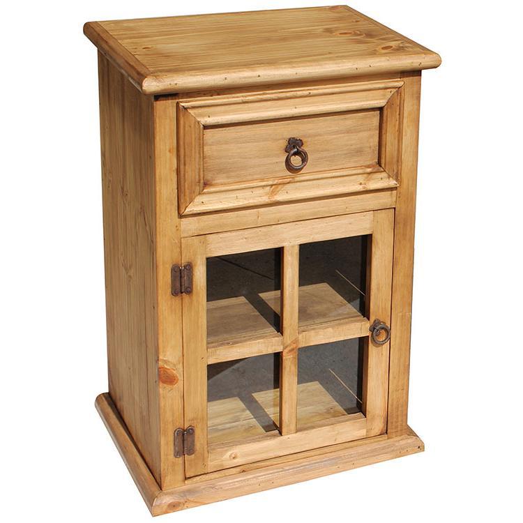 Rustic Pine Nightstand Door Opens Left Product Photo