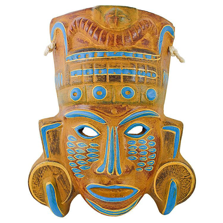 Ceramic Clay Mask: Mayan Priest
