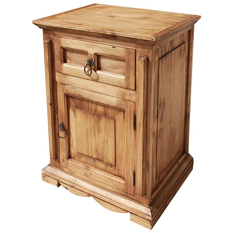 Rustic Pine Nightstand Door Opens Right Product Photo