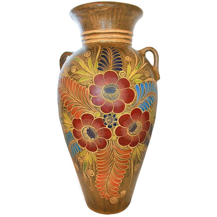 Decorative Pottery Four Foot Floor Vase Three Flowers