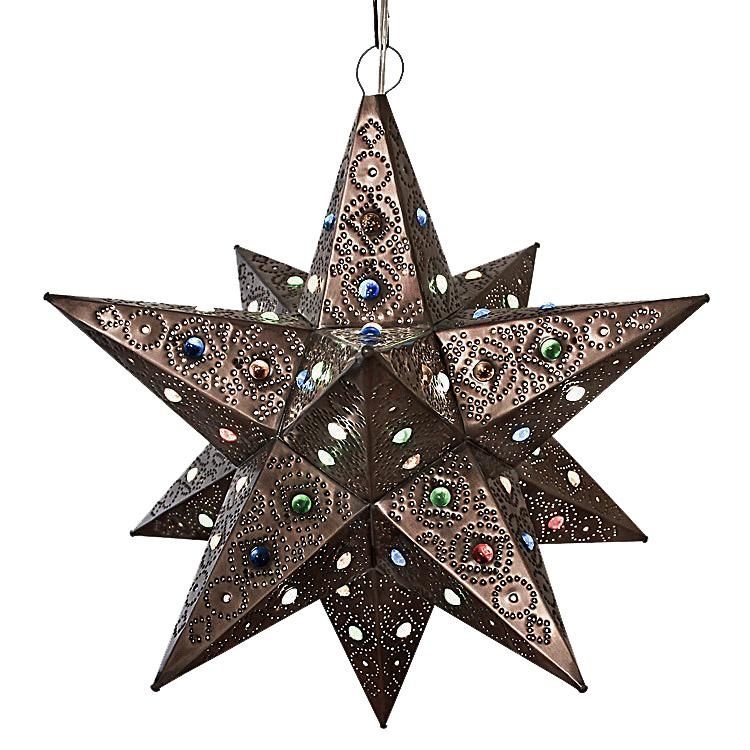 Large Mexican Tin Colorado Star with Marbles: with Oxidized Finish