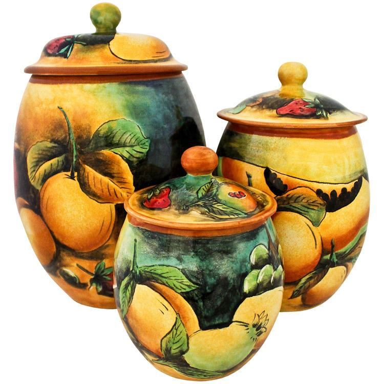 Oval Fruit Kitchen Canister Set of Three