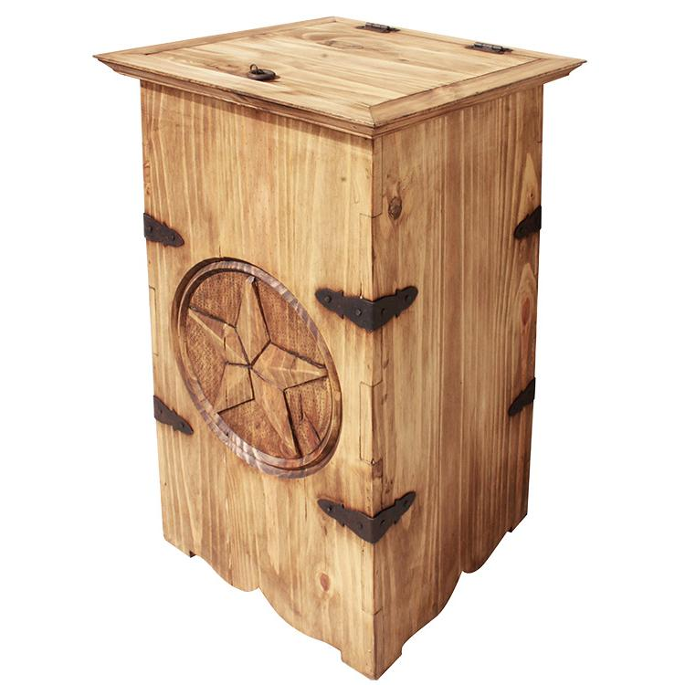Mexican Rustic Pine Star Trash Container