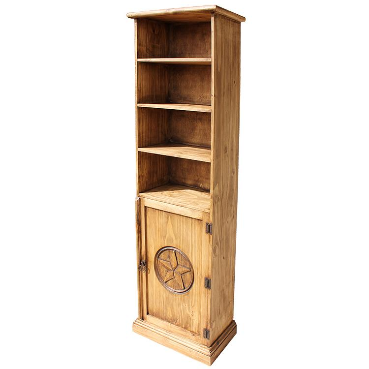 Mexican Rustic Pine Tall Multimedia Bookcase with Star Door
