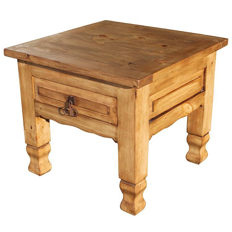 Mexican Rustic Pine Keko End Table