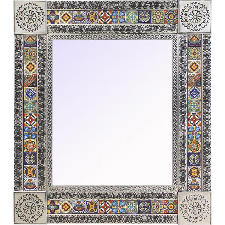Large Talavera Tile Mirror - Natural Finish