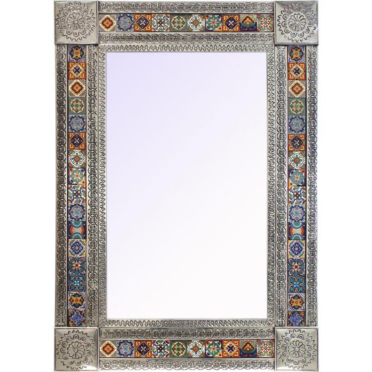 Extra Large Talavera Tile Mirror Frame - Natural Finish