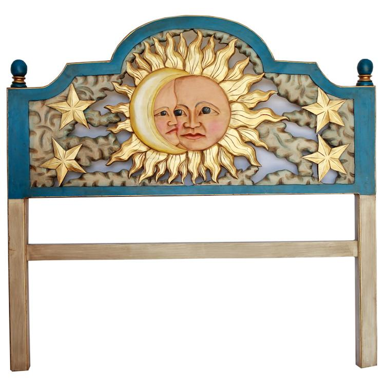 Queen Carved Headboard: Blue Eclipse