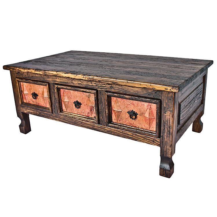 Drawer Coffee Table Vine Panels Wooden Top Product Photo