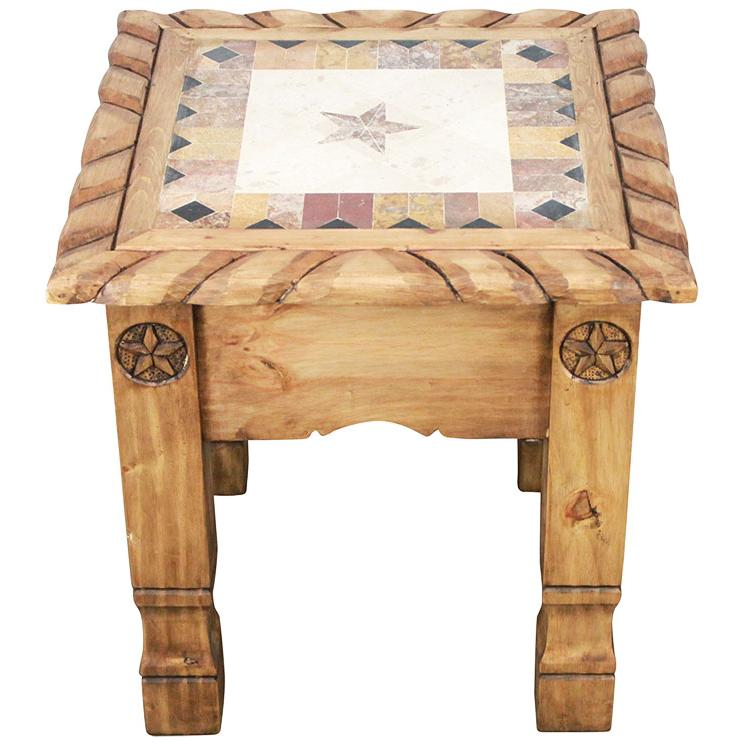 Rustic Pine Marble Top End Table Product Photo