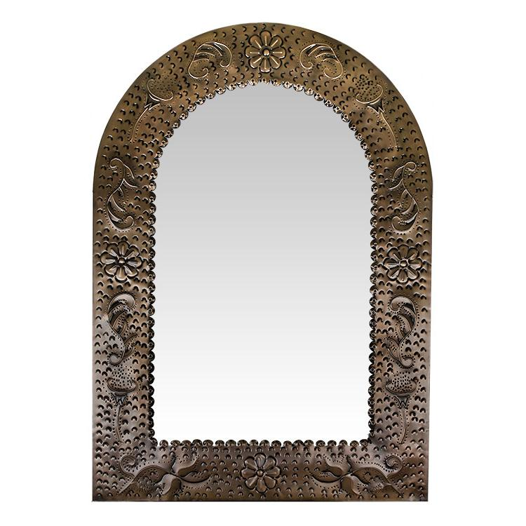Large Arch Engraved Tin Mirror - Oxidized Finish